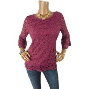 ADRIANNA PAPELL M Top NWT $99 Holiday Shirt Berry